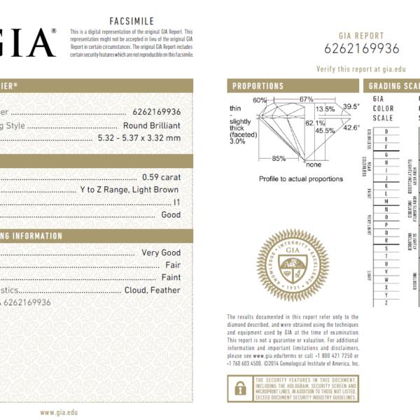 0.59 Carat Diamond (Gemological Institute of America)