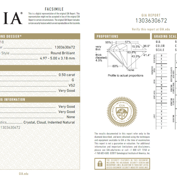 0.50 Carat Diamond (Gemological Institute of America)