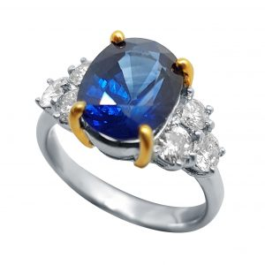 White Gold Diamond & Blue Sapphire Ring