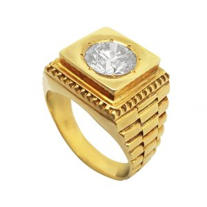 Yellow Gold Diamond Men's Ring
