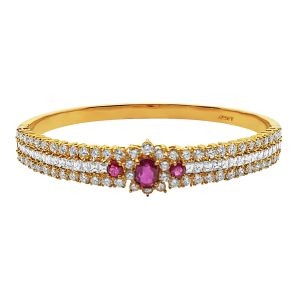Yellow Gold Diamond & Ruby Bangle