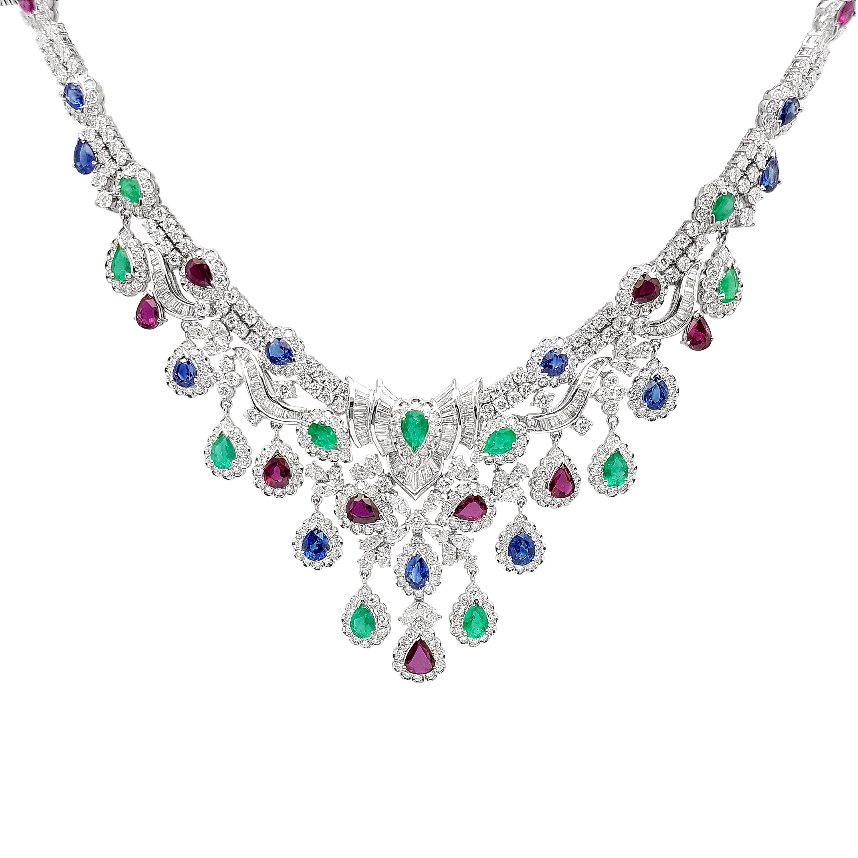Yellow Gold Diamond & Color Gem Necklace