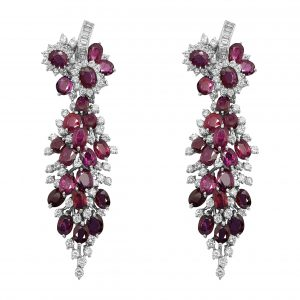 White Gold Diamond & Ruby Earring /Pendant