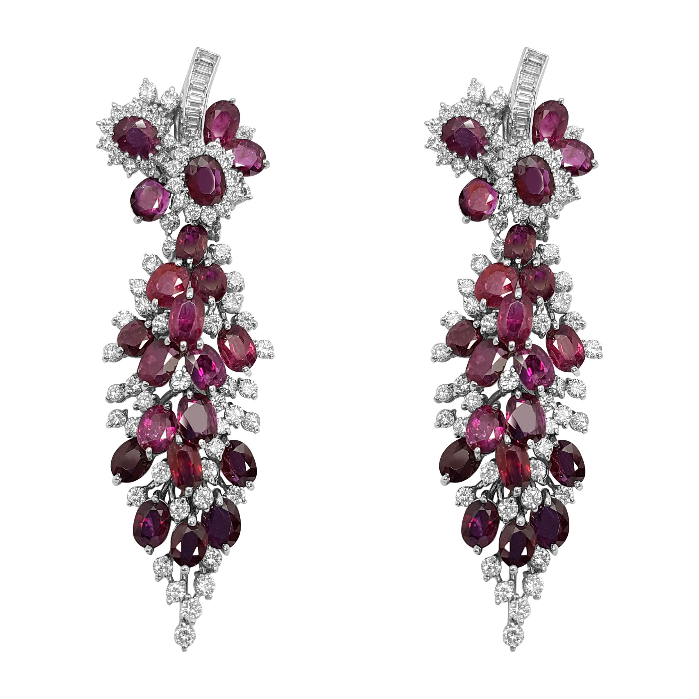 White Gold Diamond Ruby Earrings Pendant