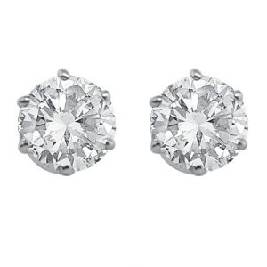White Gold 6 Claw Diamond Ear Stud