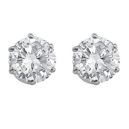White Gold 6 Claw Diamond Ear Studs