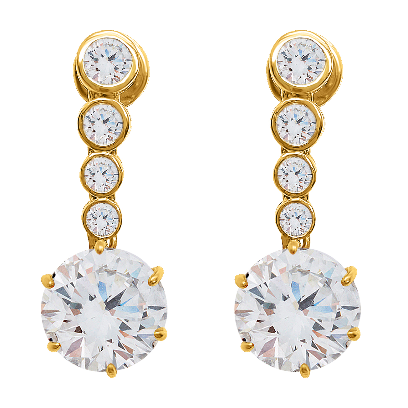 Yellow Gold Diamond Dangling Ear Stud