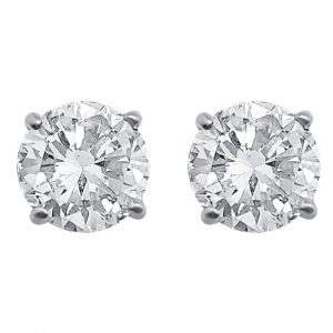 White Gold 4 Claw Diamond Ear Stud