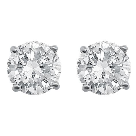 White Gold 4 Claw Diamond Ear Stud