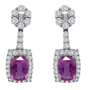 White Gold Diamond & Pink Sapphire Dangling Ear Stud