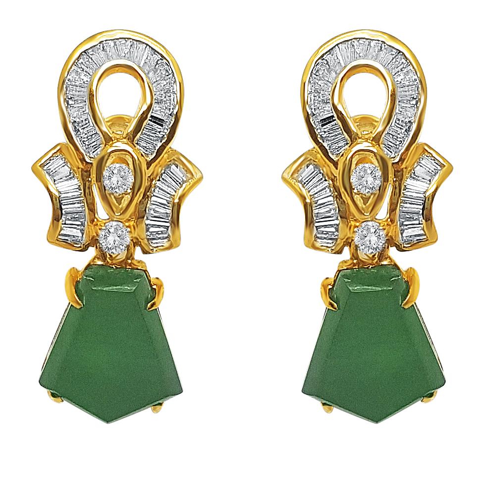 Yellow Gold Diamond & Jade Ear Stud