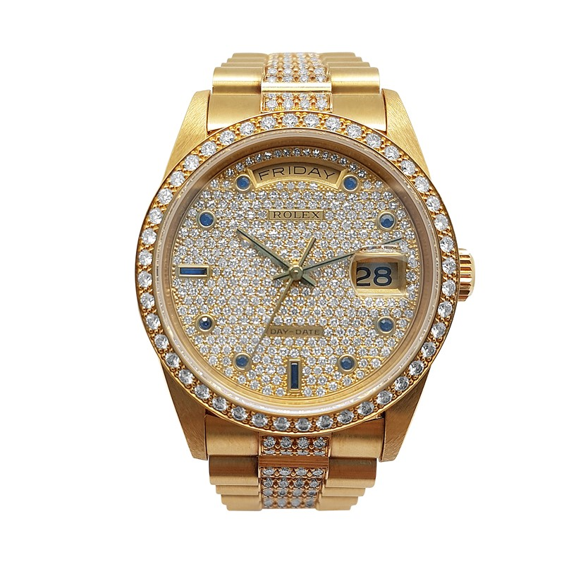 18K Yellow Gold Rolex Men with Diamond